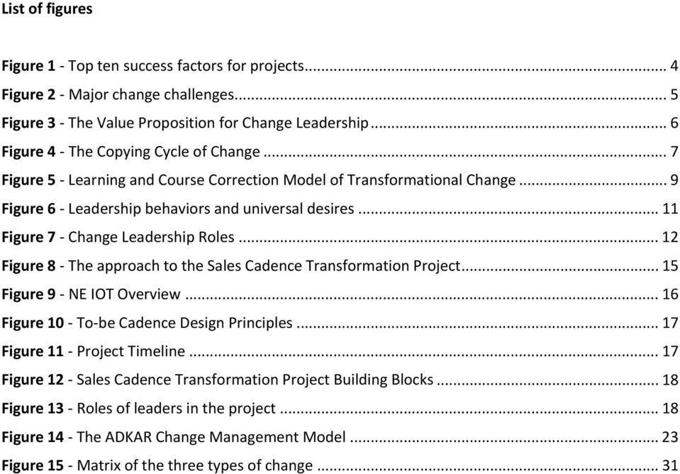 .. 11 Figure 7 - Change Leadership Roles... 12 Figure 8 - The approach to the Sales Cadence Transformation Project... 15 Figure 9 - NE IOT Overview... 16 Figure 10 - To-be Cadence Design Principles.