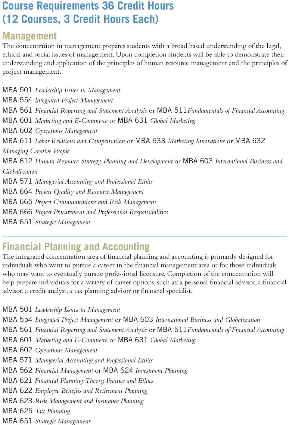 MBA 501 Leadership Issues in Management MBA 554 Integrated Project Management MBA 561 Financial Reporting and Statement Analysis or MBA 511Fundamentals of Financial Accounting MBA 601 Marketing and