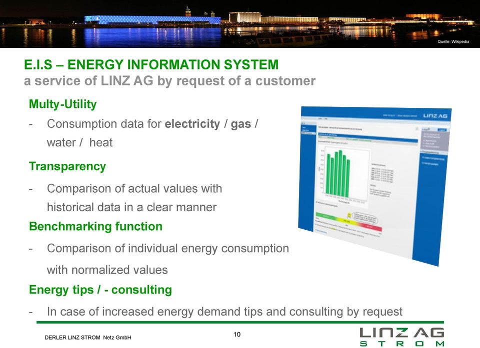 historical data in a clear manner Benchmarking function - Comparison of individual energy consumption