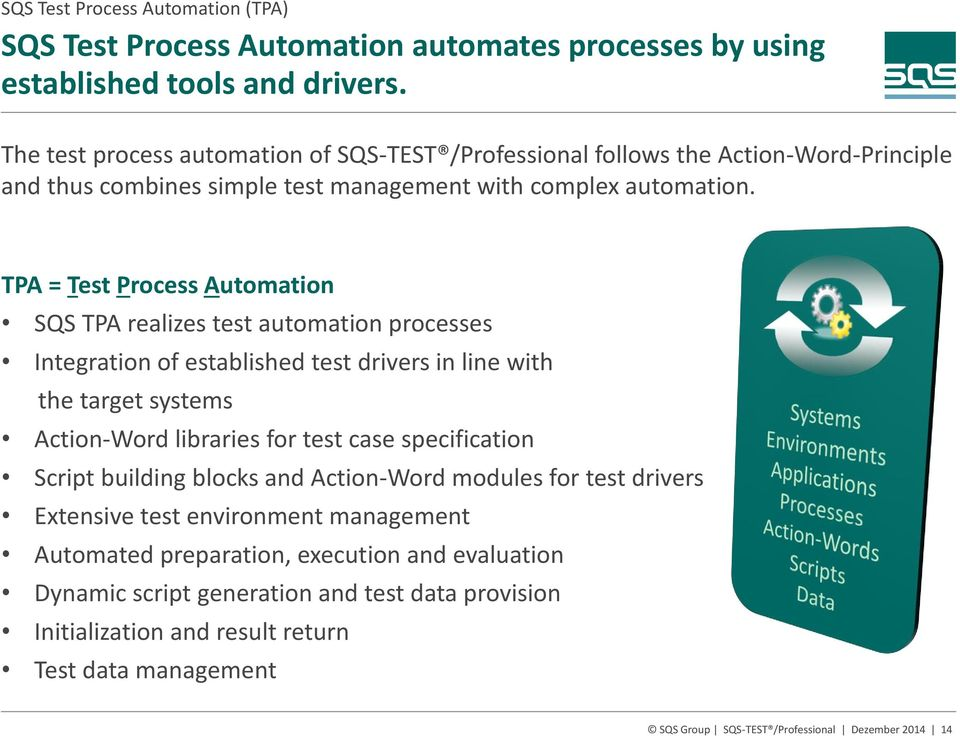 TPA = Test Process Automation SQS TPA realizes test automation processes Integration of established test drivers in line with the target systems Action-Word libraries for test case