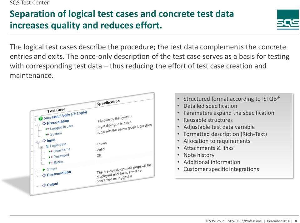 The once-only description of the test case serves as a basis for testing with corresponding test data thus reducing the effort of test case creation and maintenance.