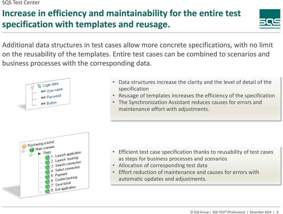 Entire test cases can be combined to scenarios and business processes with the corresponding data.