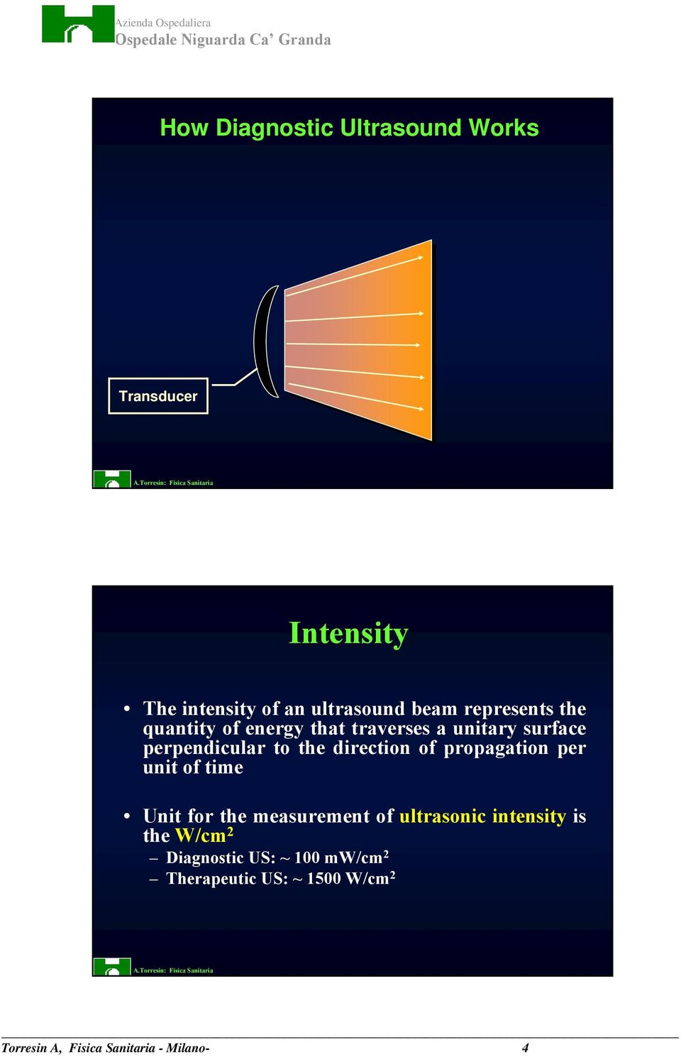 direction of propagation per unit of time Unit for the measurement of ultrasonic intensity is