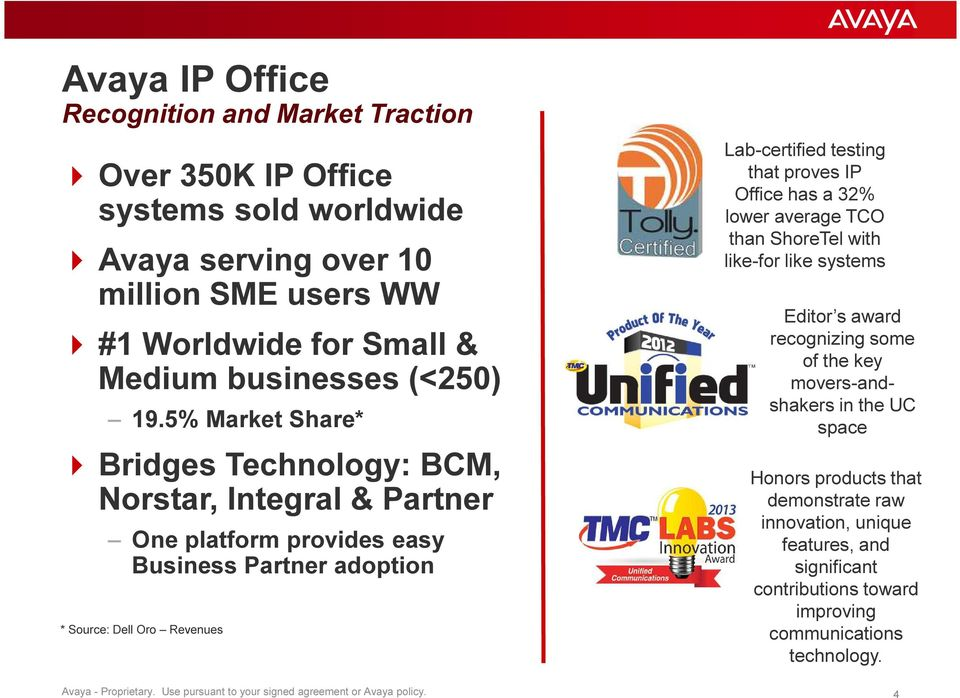 IP Office has a 32% lower average TCO than ShoreTel with like-for like systems Editor s award recognizing some of the key movers-andshakers in the UC space Honors products that