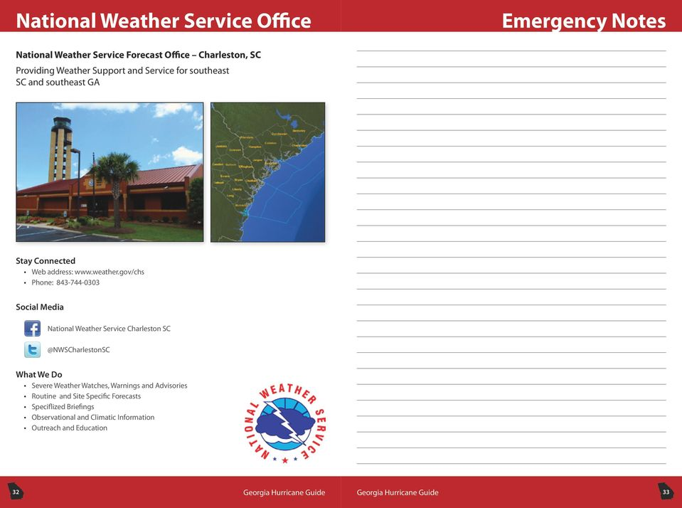 gov/chs Phone: 843-744-0303 Social Media National Weather Service Charleston SC @NWSCharlestonSC What We Do Severe Weather