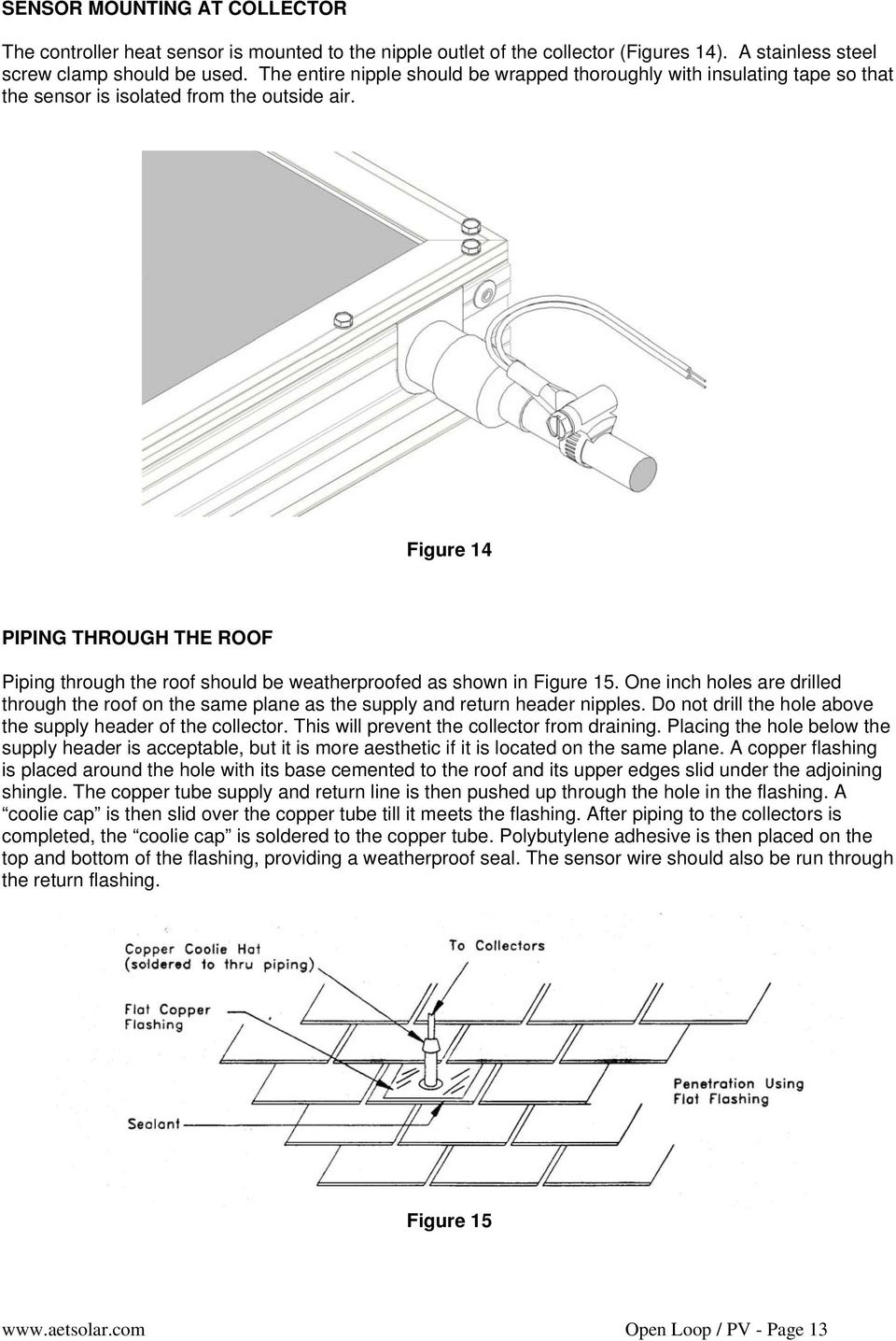 Figure 14 PIPING THROUGH THE ROOF Piping through the roof should be weatherproofed as shown in Figure 15.