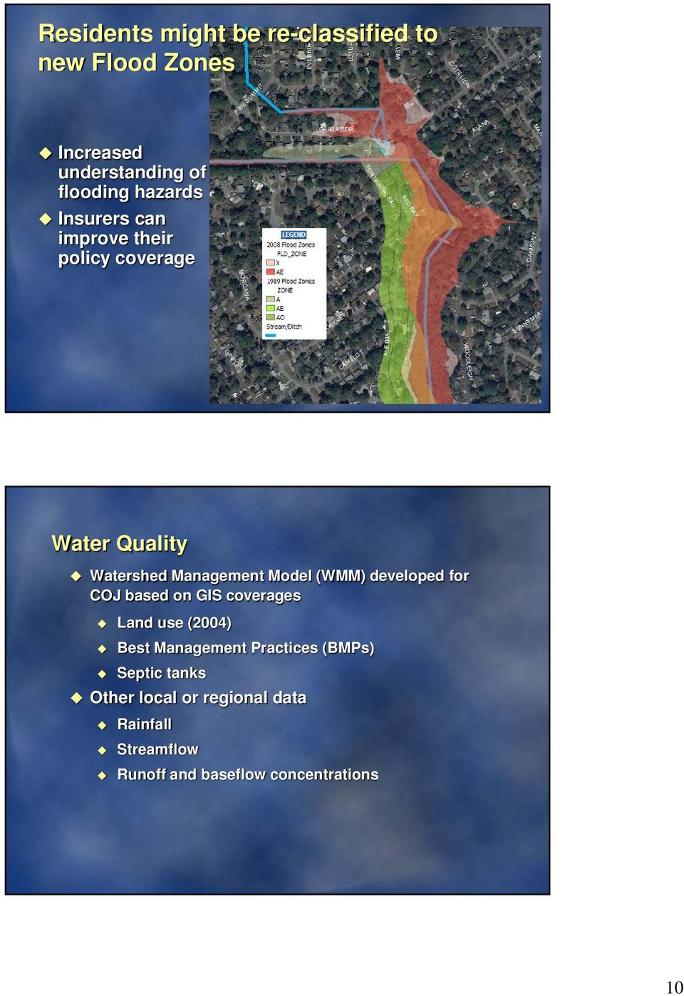 (WMM) developed for COJ based on GIS coverages Land use (2004) Best Management Practices