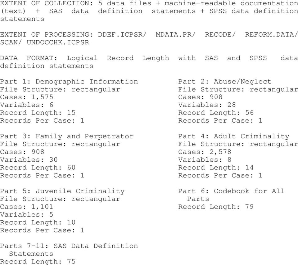 ICPSR DATA FORMAT: Logical Record Length with SAS and SPSS definition statements data Part 1: Demographic Information Part 2: Abuse/Neglect File Structure: rectangular File Structure: rectangular