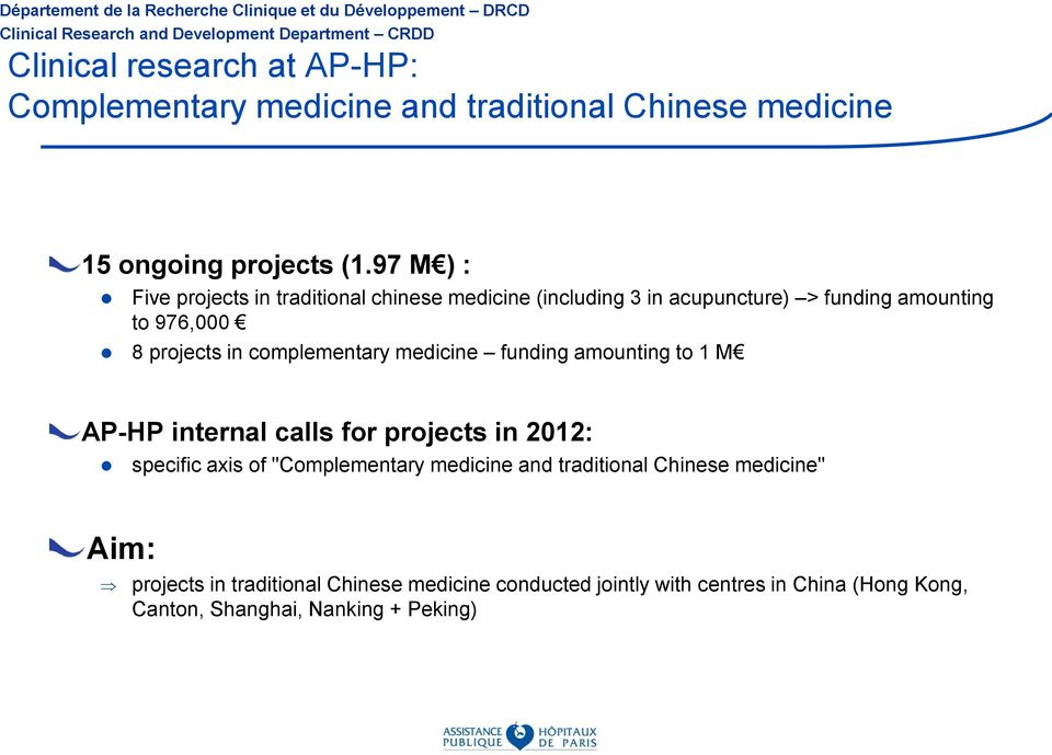 "complementary medicine funding amounting to 1 M AP-HP internal calls for projects in 2012: specific axis of ""Complementary medicine"