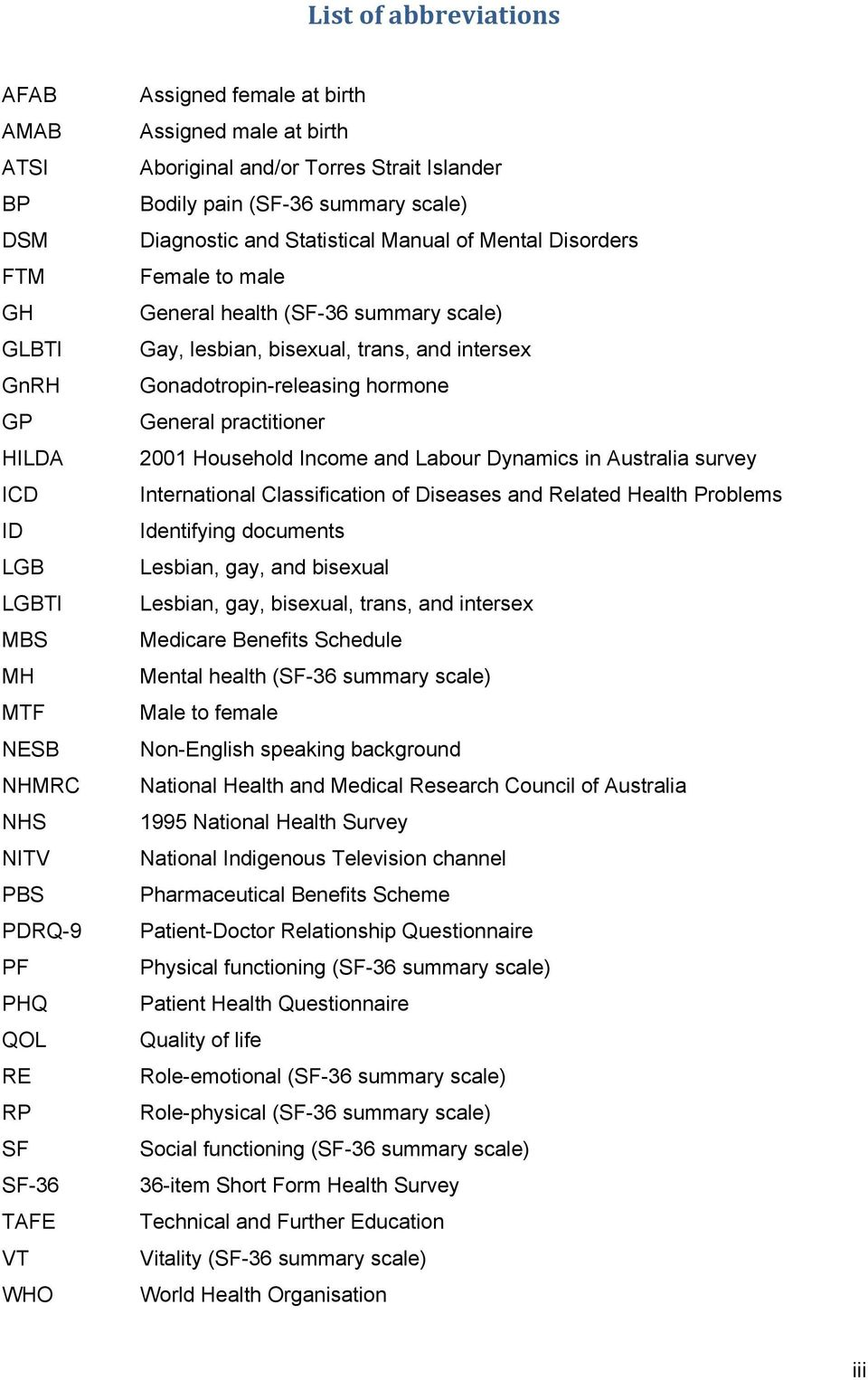 scale) Gay, lesbian, bisexual, trans, and intersex Gonadotropin-releasing hormone General practitioner 2001 Household Income and Labour Dynamics in Australia survey International Classification of