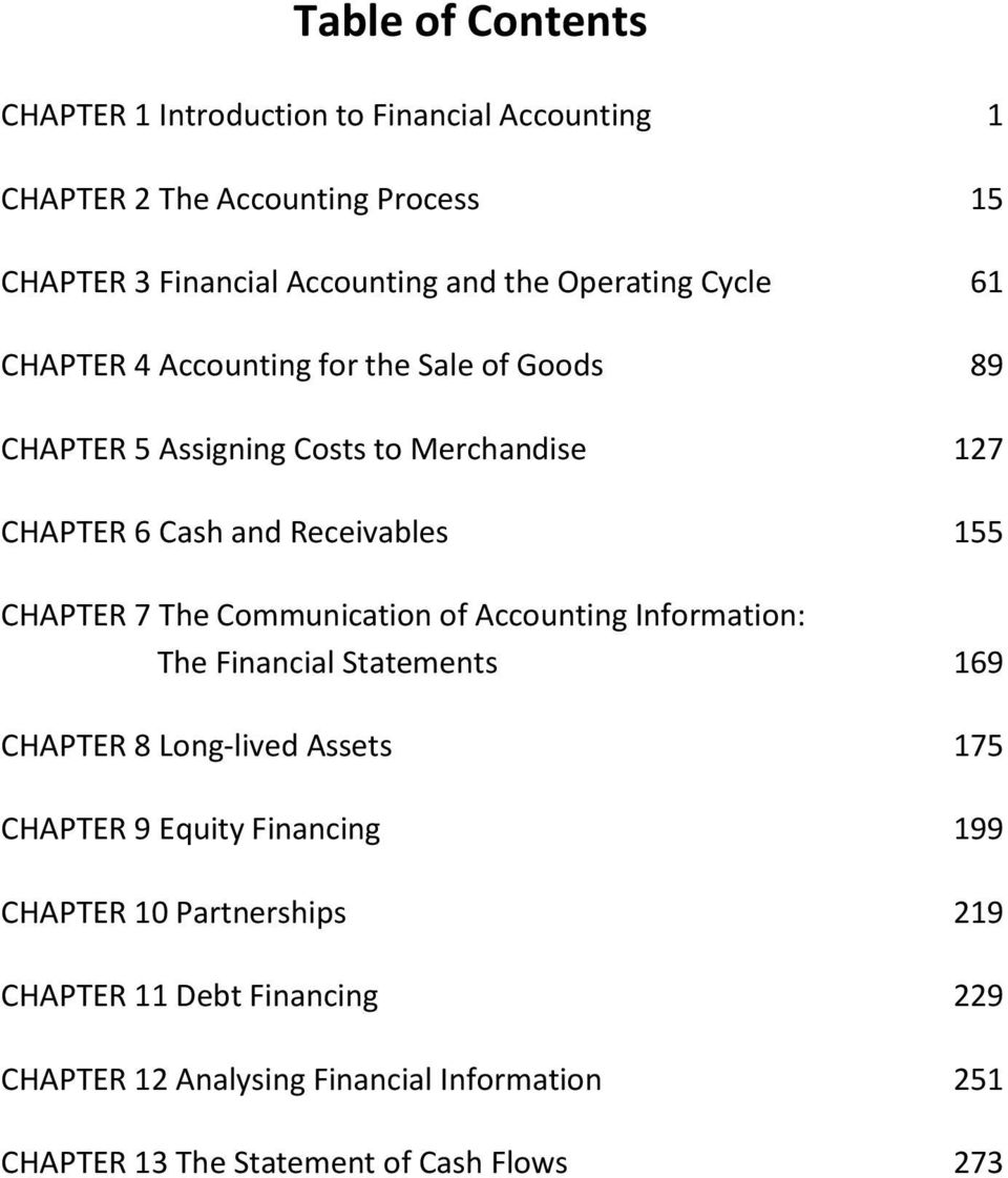 CHAPTER 7 The Communication of Accounting Information: The Financial Statements 169 CHAPTER 8 Long-lived Assets 175 CHAPTER 9 Equity Financing