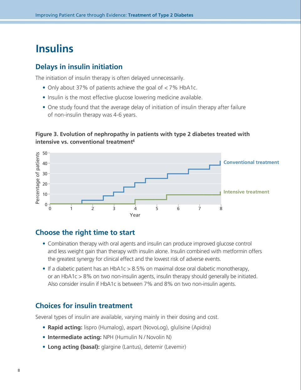 One study found that the average delay of initiation of insulin therapy after failure of non-insulin therapy was 4-6 years. Figure 3.