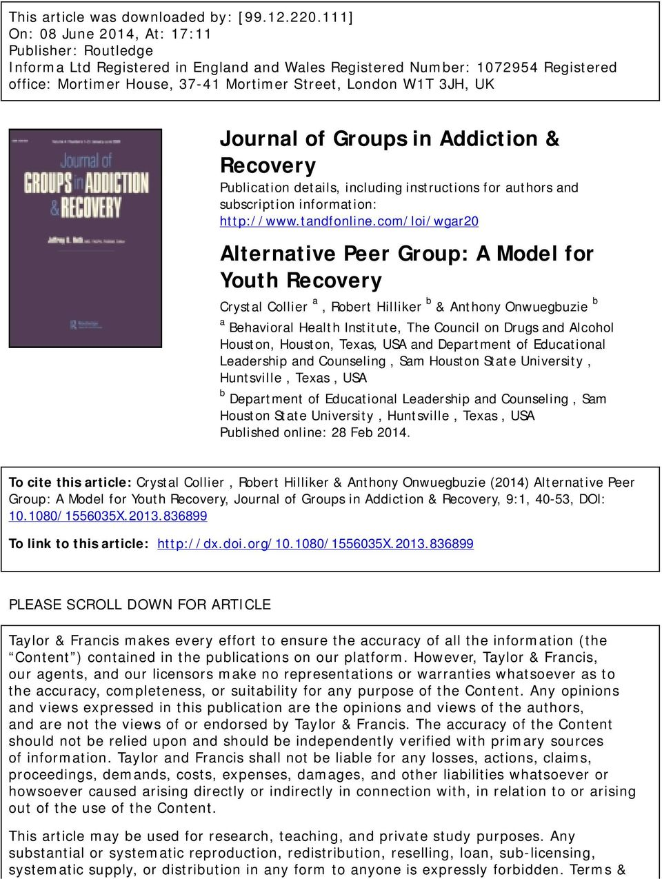 UK Journal of Groups in Addiction & Recovery Publication details, including instructions for authors and subscription information: http://www.tandfonline.