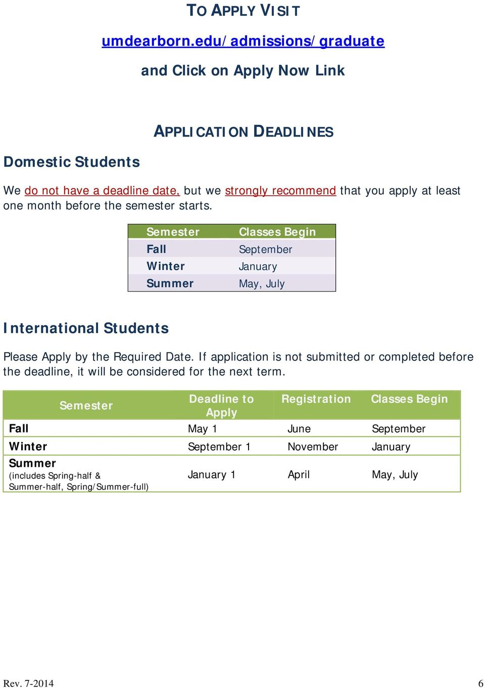 least one month before the semester starts. Semester Fall Winter Summer Classes Begin September January May, July International Students Please Apply by the Required Date.