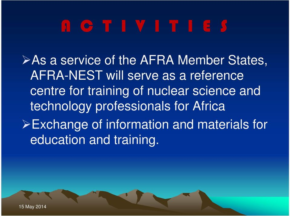 nuclear science and technology professionals for Africa
