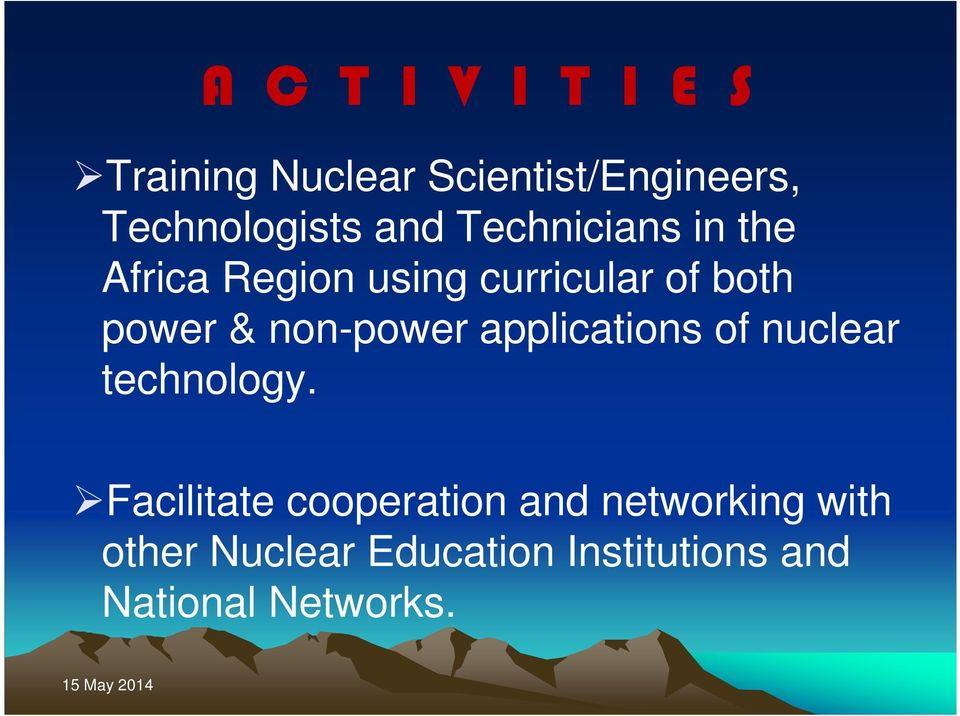 non-power applications of nuclear technology.