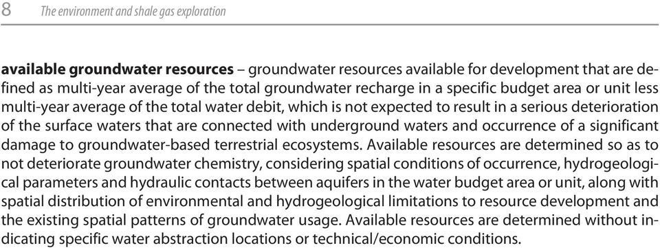 waters and occurrence of a significant damage to groundwater-based terrestrial ecosystems.