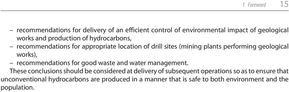 works), recommendations for good waste and water management.