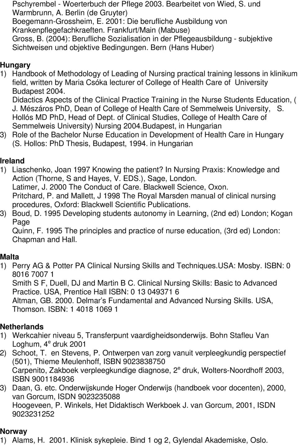 Bern (Hans Huber) Hungary 1) Handbook of Methodology of Leading of Nursing practical training lessons in klinikum field, written by Maria Csóka lecturer of College of Health Care of University