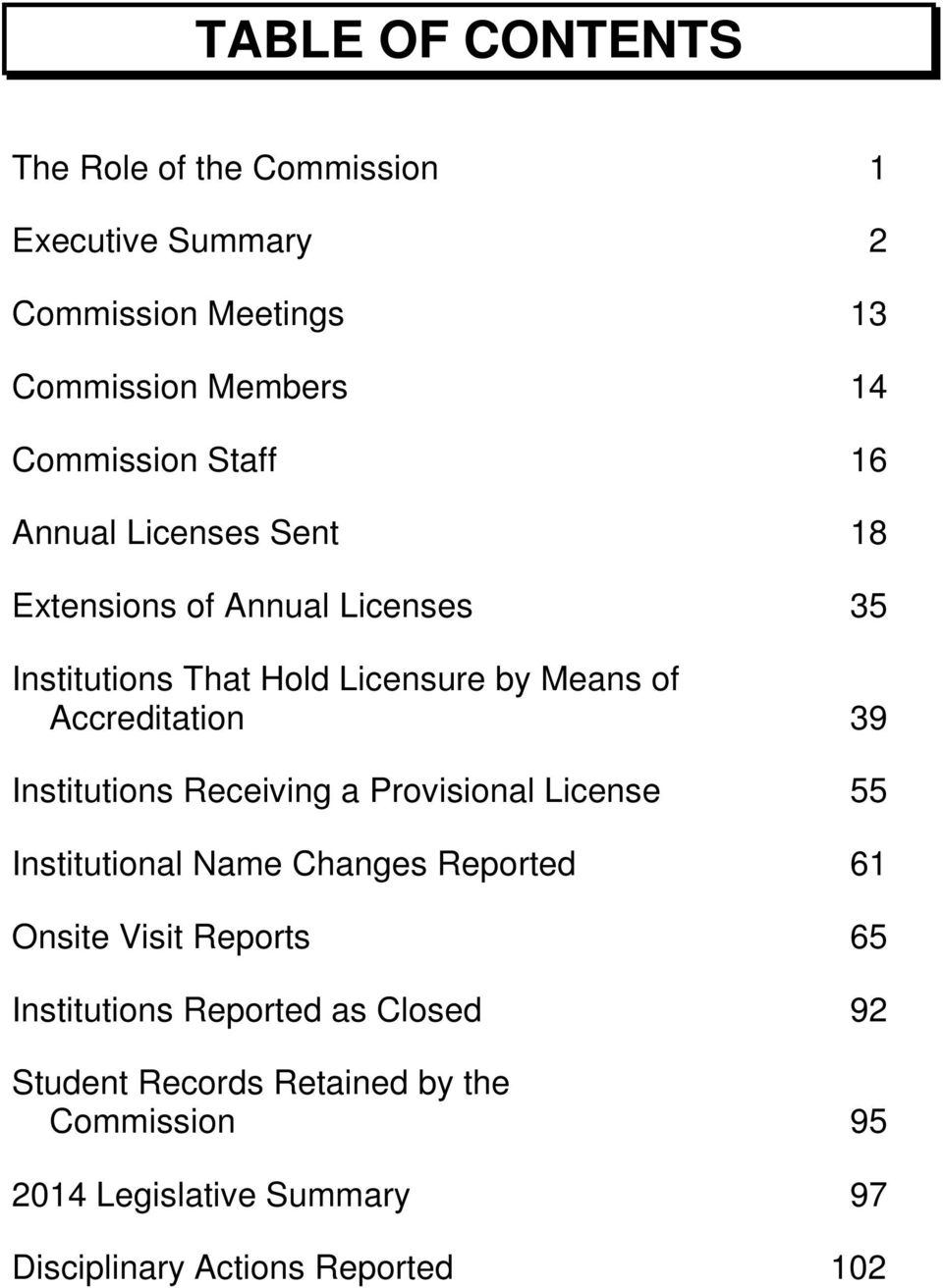 39 Institutions Receiving a Provisional License 55 Institutional Name Changes Reported 61 Onsite Visit Reports 65