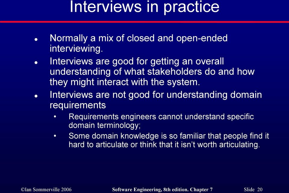 Interviews are not good for understanding domain requirements Requirements engineers cannot understand specific domain terminology;