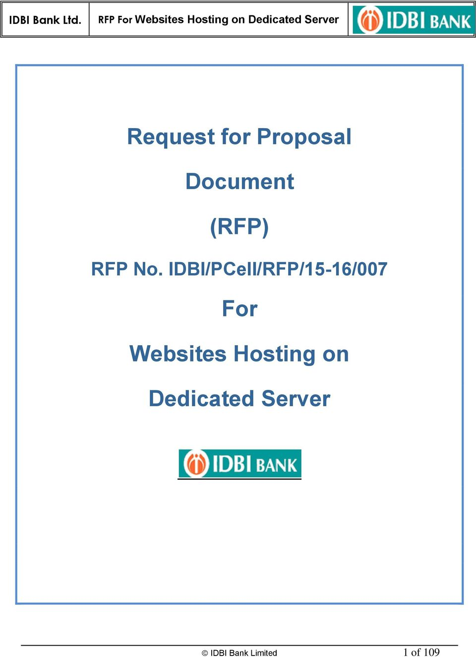 IDBI/PCell/RFP/15-16/007 For