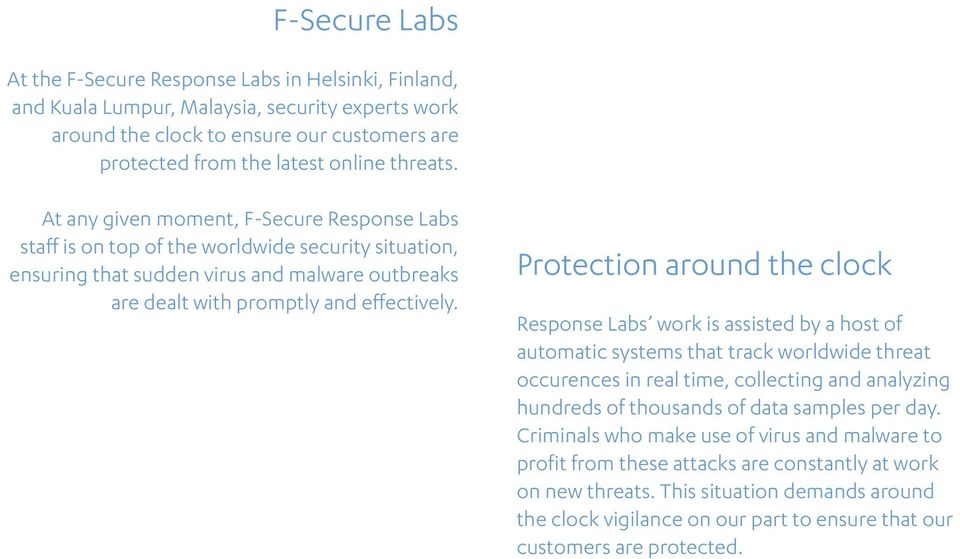 Protection around the clock Response Labs work is assisted by a host of automatic systems that track worldwide threat occurences in real time, collecting and analyzing hundreds of thousands of data