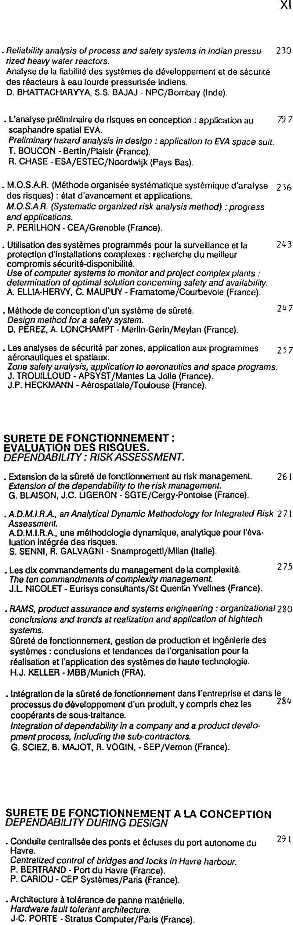 . L'analyse prelimlnaire de rlsques en conception : application au 79 7 scaphandre spatial EVA. Preliminary hazard analysis in design : application to EVA space suit T.