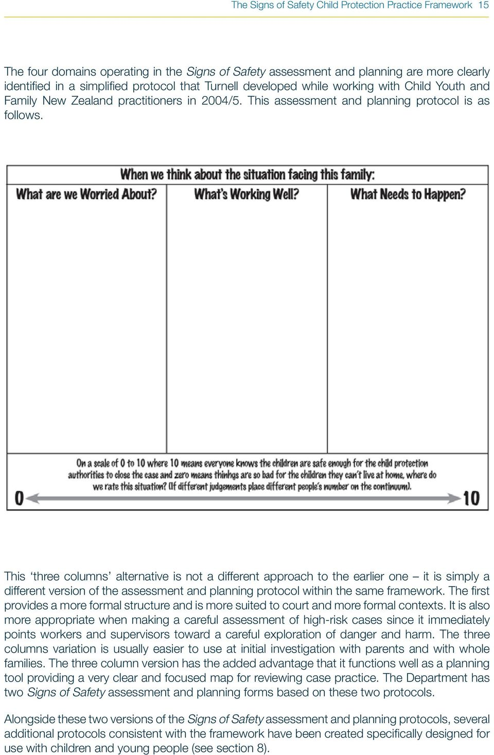 This three columns alternative is not a different approach to the earlier one it is simply a different version of the assessment and planning protocol within the same framework.