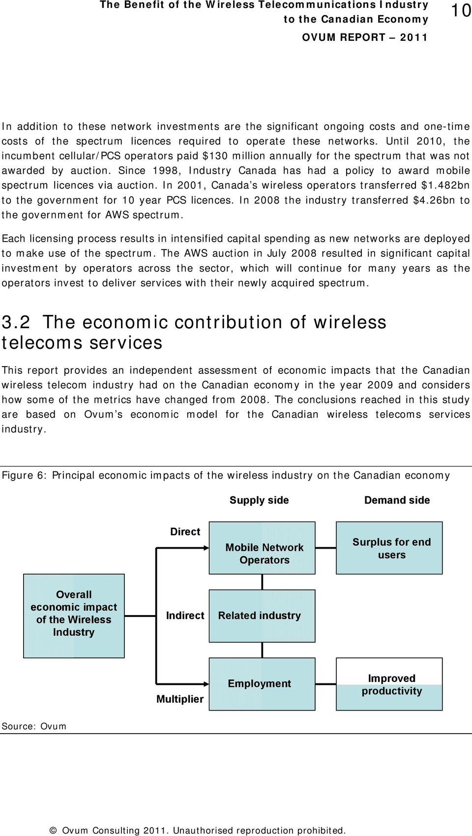 Since 1998, Industry Canada has had a policy to award mobile spectrum licences via auction. In 2001, Canada s wireless operators transferred $1.482bn to the government for 10 year PCS licences.