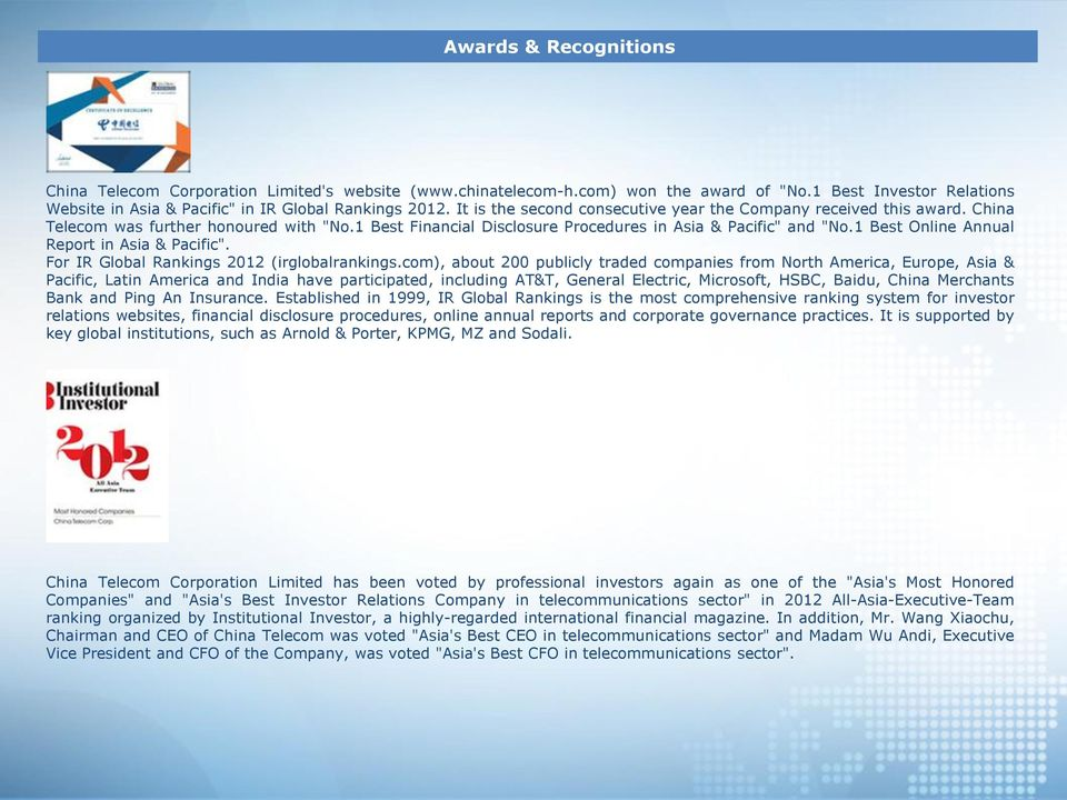 "1 Best Online Annual Report in Asia & Pacific"". For IR Global Rankings 2012 (irglobalrankings."