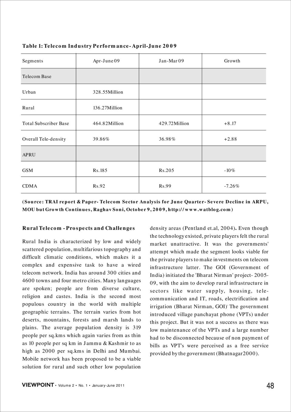 26% (Source: TRAI report & Paper- Telecom Sector Analysis for June Quarter- Severe Decline in ARPU, MOU but Growth Continues, Raghav Soni, October 9, 2009, http://www.watblog.