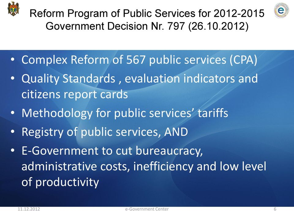 citizens report cards Methodology for public services tariffs Registry of public services, AND