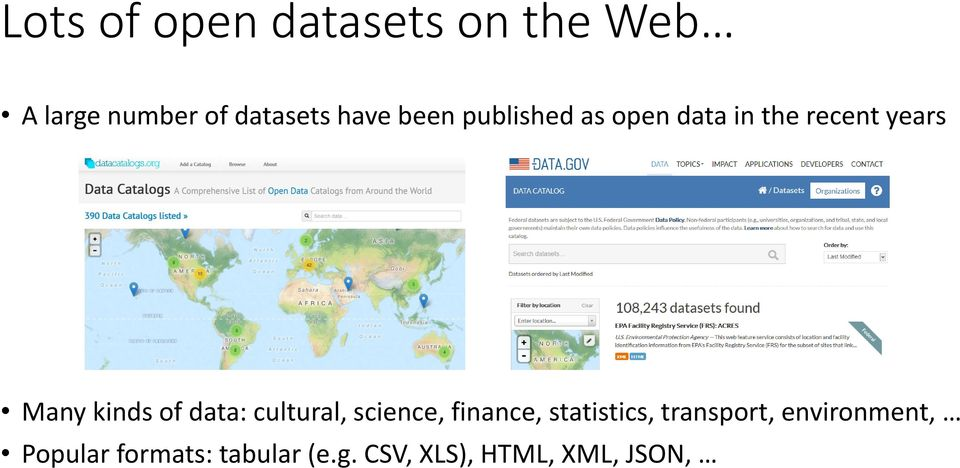 of data: cultural, science, finance, statistics, transport,