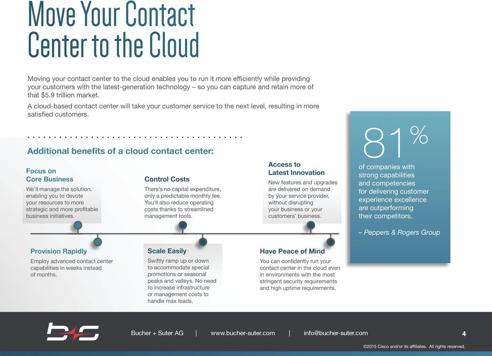 ... Additional benefits of a cloud contact center: Focus on Core Business We ll manage the solution, enabling you to devote your resources to more strategic and more profitable business initiatives.