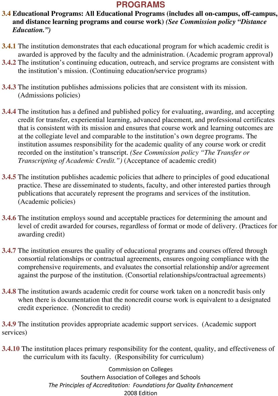 (Admissions policies) 3.4.