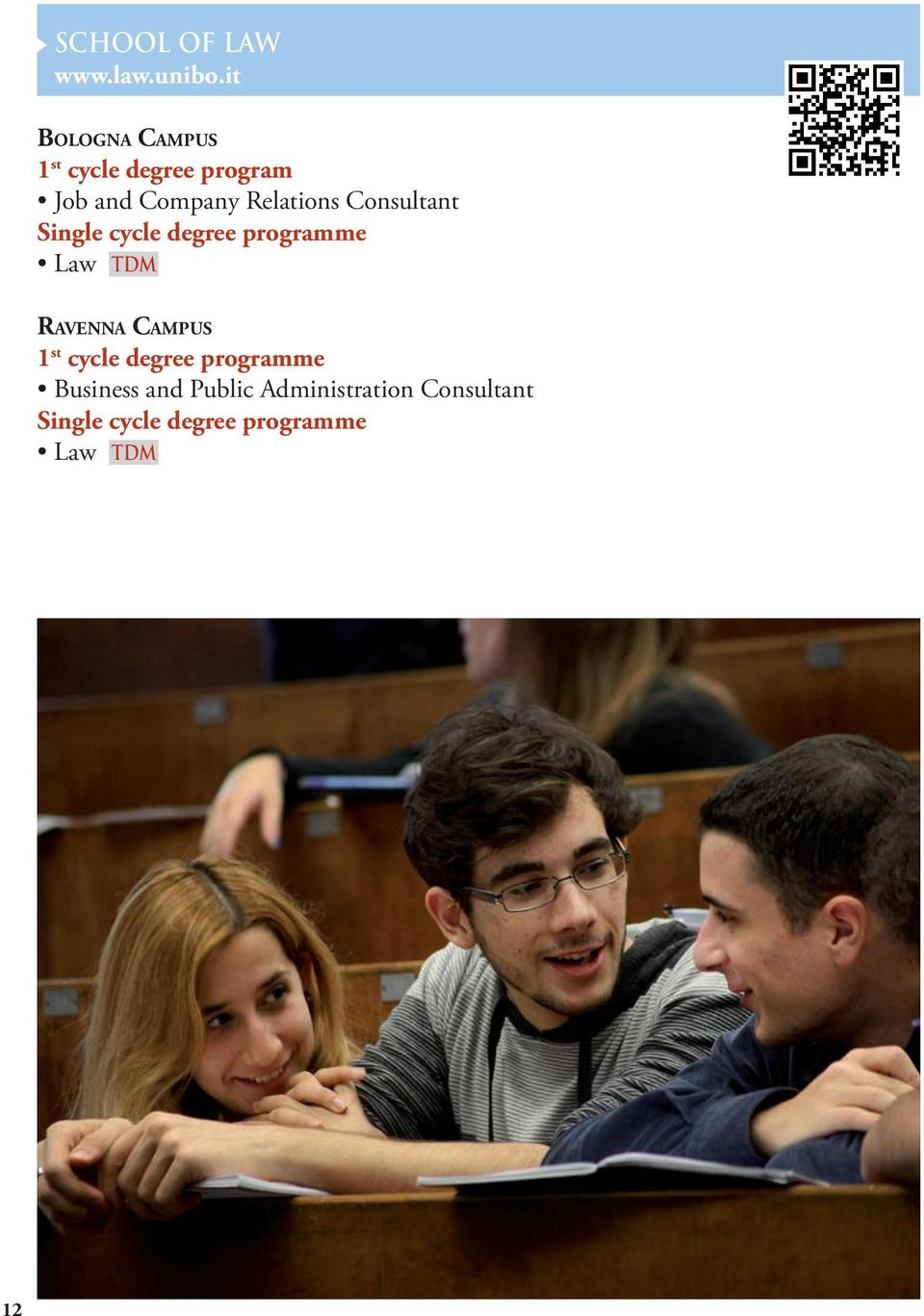 Relations Consultant Single cycle degree programme Law TDM Ravenna