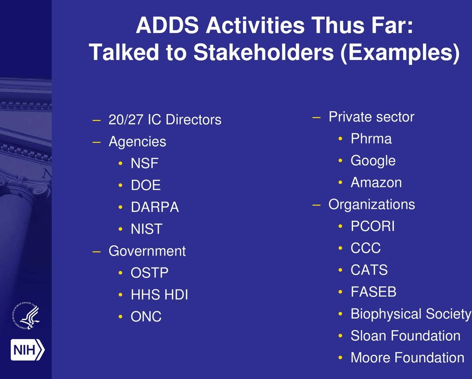HHS HDI ONC Private sector Phrma Google Amazon Organizations