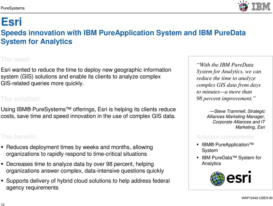 The solution: Using IBM PureSystems offerings, Esri is helping its clients reduce costs, save time and speed innovation in the use of complex GIS data.
