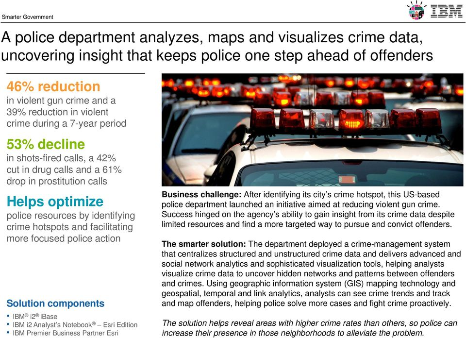 hotspots and facilitating more focused police action Solution components IBM i2 ibase IBM i2 Analyst s Notebook Esri Edition IBM Premier Business Partner Esri Business challenge: After identifying