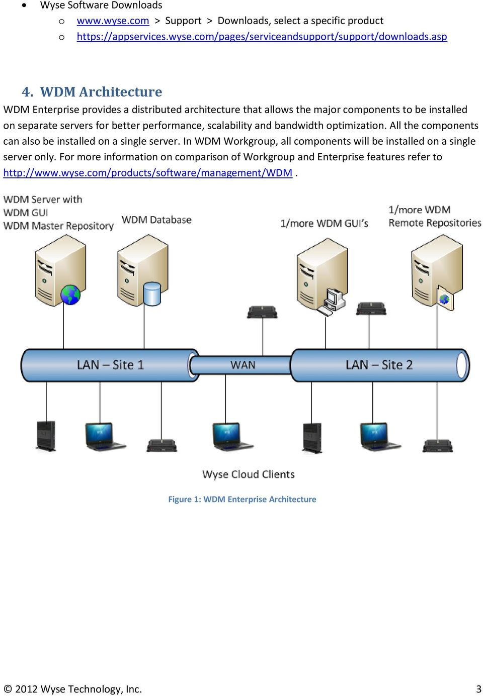 bandwidth optimization. All the components can also be installed on a single server. In WDM Workgroup, all components will be installed on a single server only.