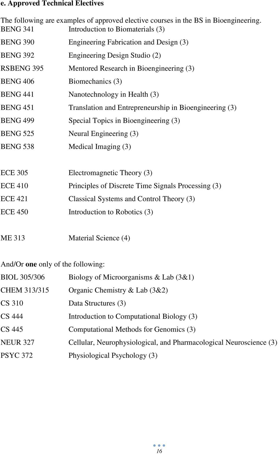 Biomechanics (3) BENG 441 Nanotechnology in Health (3) BENG 451 Translation and Entrepreneurship in Bioengineering (3) BENG 499 Special Topics in Bioengineering (3) BENG 525 Neural Engineering (3)