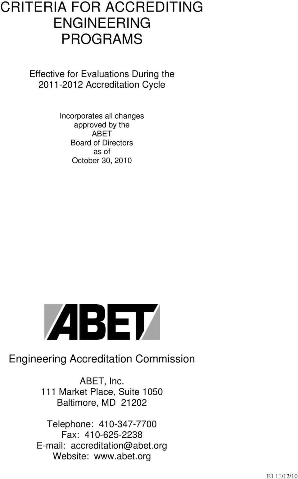 30, 2010 Engineering Accreditation Commission ABET, Inc.