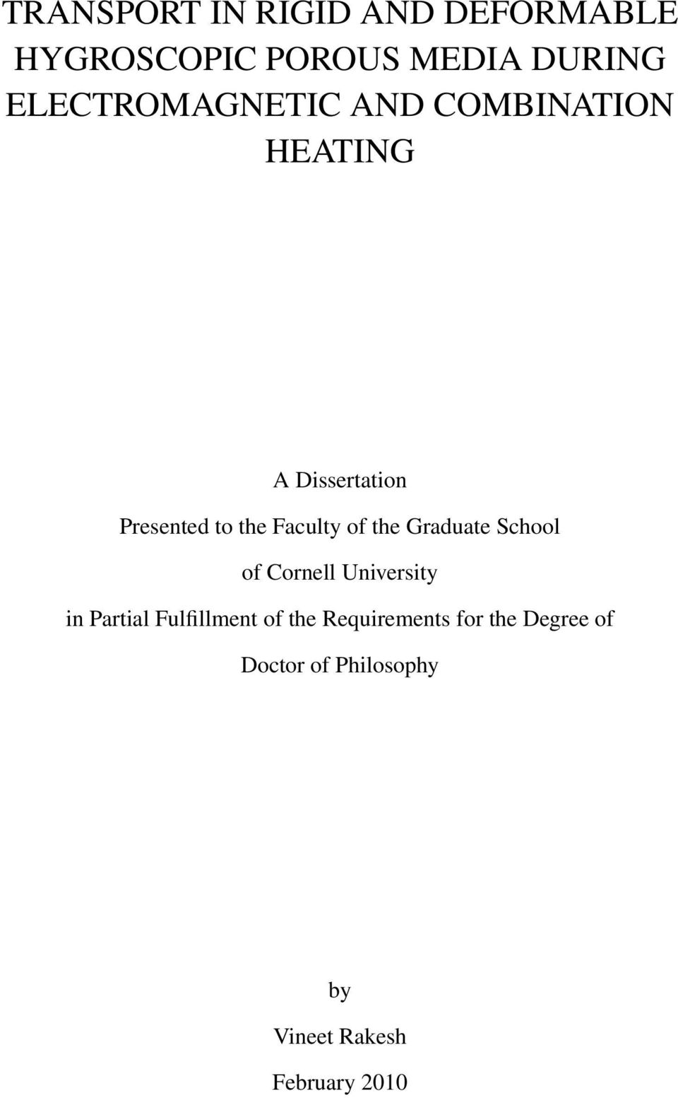 Faculty of the Graduate School of Cornell University in Partial Fulfillment