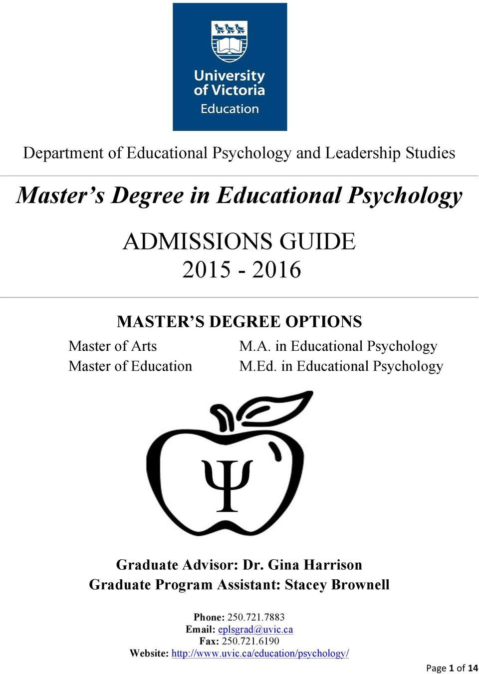 in al Psychology Graduate Advisor: Dr.