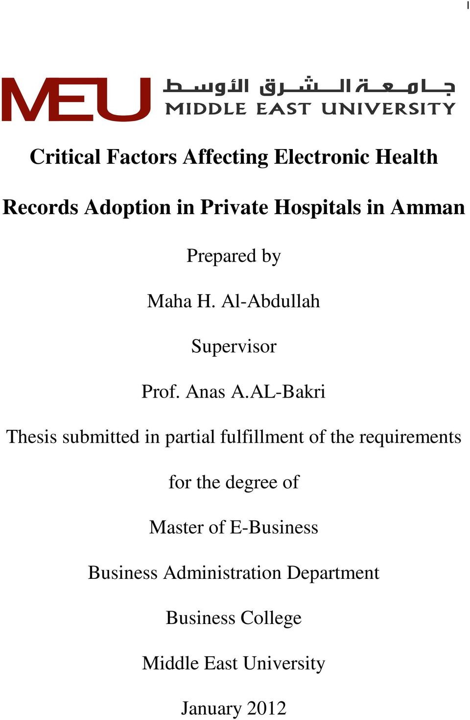 AL-Bakri Thesis submitted in partial fulfillment of the requirements for the degree of