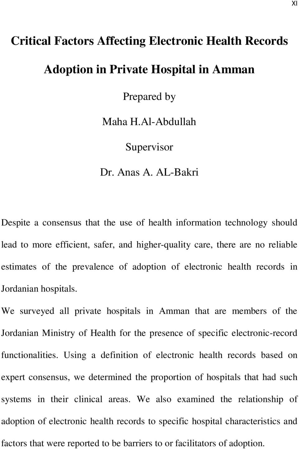 of electronic health records in Jordanian hospitals.