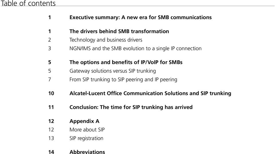 solutions versus SIP trunking 7 From SIP trunking to SIP peering and IP peering 10 Alcatel-Lucent Office Communication Solutions