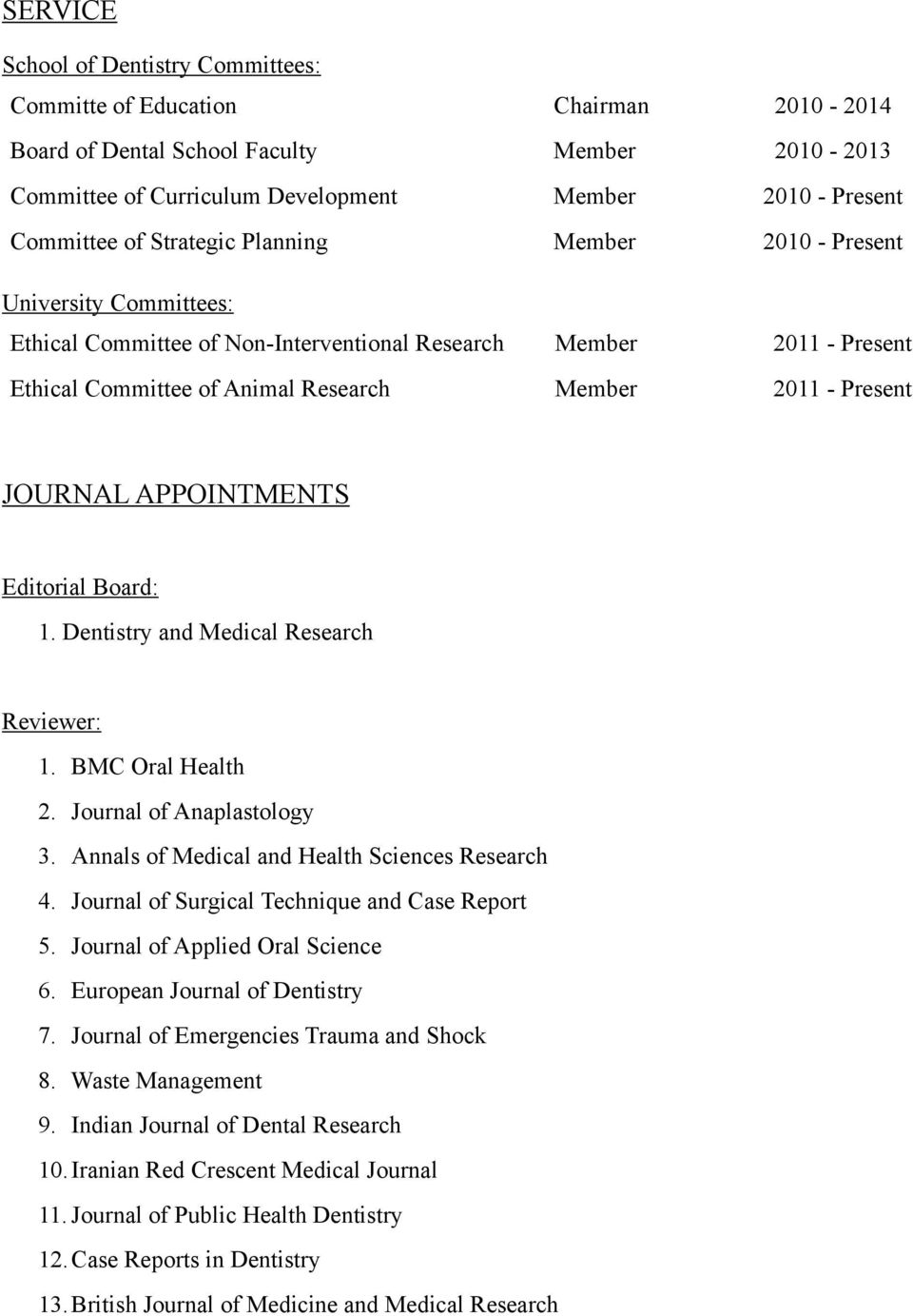 JOURNAL APPOINTMENTS Editorial Board: 1. Dentistry and Medical Research Reviewer: 1. BMC Oral Health 2. Journal of Anaplastology 3. Annals of Medical and Health Sciences Research 4.