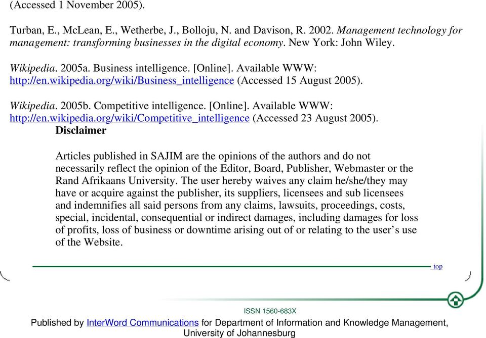 Competitive intelligence. [Online]. Available WWW: http://en.wikipedia.org/wiki/competitive_intelligence (Accessed 23 August 2005).
